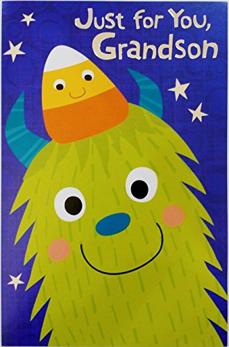 Just for You Grandson - Happy Halloween Greeting Card w/ Green Monster