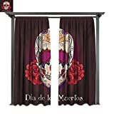 Marina Lea Patio Curtains,Dia de Los Muertos Quote Spanish Skull Dead Head Skeleton Vivid Print, Outdoor Curtain for Balcony (W84 x L108 Inches Plum Red Cream)