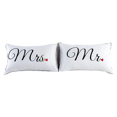 Fundas de almohada, regalo para parejas, para él y para ella, relleno de almohada no incluido, de NTBED, poliéster, Mrs Mr, Estándar