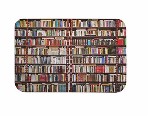 A.Monamour Bookshelf Full Of Books Study Room Scene Picture Print Flannel Microfiber Non-Slip Bath Mat Rug Bathroom Shower Accessories 40x60cm / 16'x24'