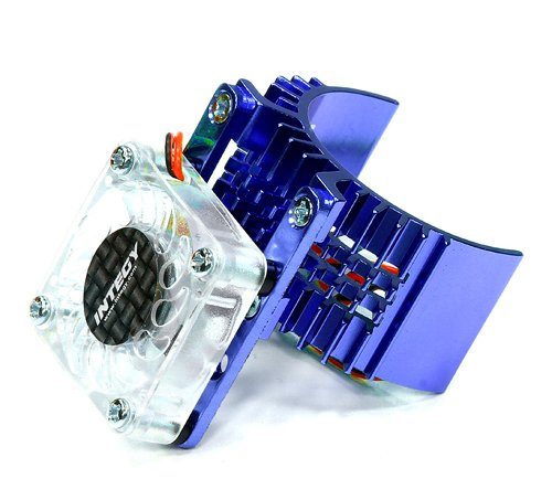 Integy RC Model Hop-ups T8074BLUE Motor Heatsink 540 Size w/ Cooling Fan for Slash, Stampede 2WD, Rustler & (Fan Cool Motor Heatsink)