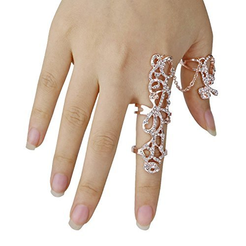 Happy Hours - Women's Jewelry Adjustable Plating Rose Rings / Multiple Finger Stack Knuckle Band Hollow Bling Ring Crystal Set(Rose (Vintage Rose Button)