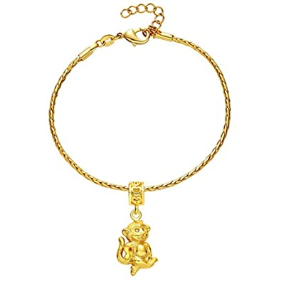 Onefeart Gold Plated Bracelet For Women Girls Chinese Zodiac Monkey Chain 22CM Couple Bracelet 2 Colors BwYUi