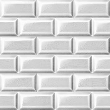 Papier Peint Carrelage Metro Blanc Trompe L Oeil Rouleau De 10 M