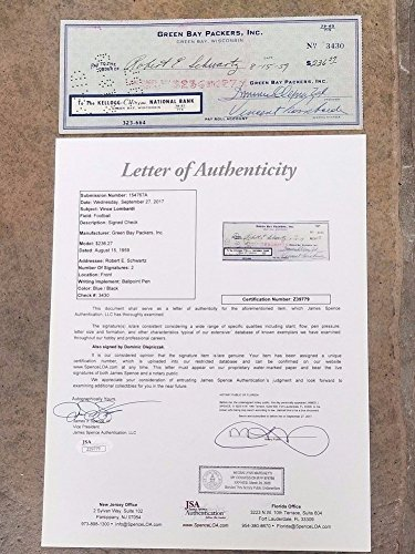 1959 Nfl Football - Vince Lombardi Packers NFL Football - Signed Check 1959 First Year - JSA Certified Letter