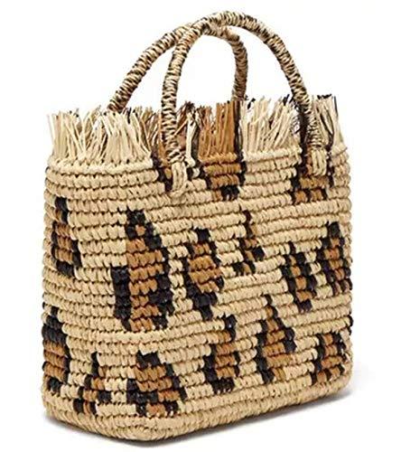 - Leopard Round Straw Beach Bag Vintage Handmade Woven Shoulder Bag Raffia Circle Rattan Bags Casual bag,1