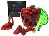Bright Dezigns Berry Colander/Strainer Strawberries Blueberries Container Keeper Strawberry Slicer Huller Stalk Remover | Hull, Slice, Wash, Rinse & Store - Keeps Small fruits Fresh Longer Gift Set