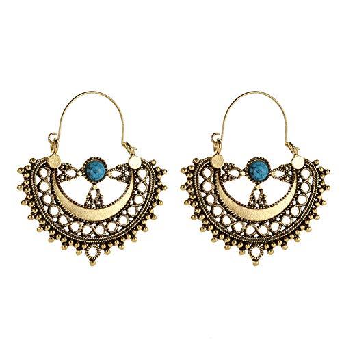 Quietcloud Ethnic Pattern Artificial Turquoise Chandelier Dangle Earrings Girl Gift Golden