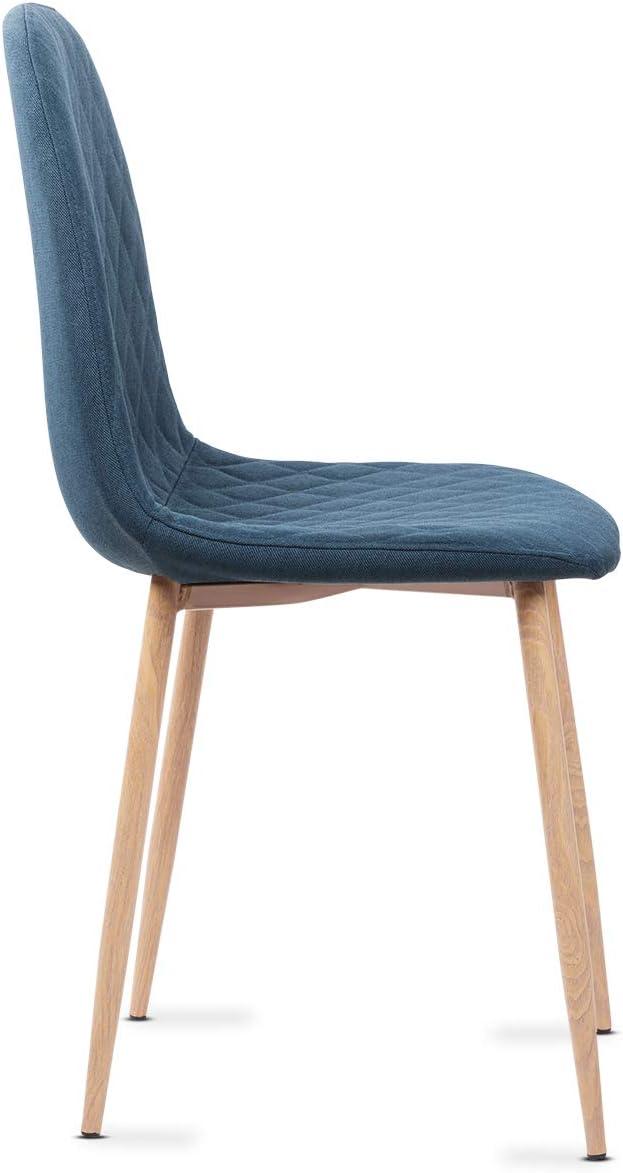 Mc Haus YRSA Pack 4 sillas comedor dise/ño n/órdico color azul perla tapizadas en terciopelo sillas sal/ón cocina con patas de metal efecto madera 50x39x87cm