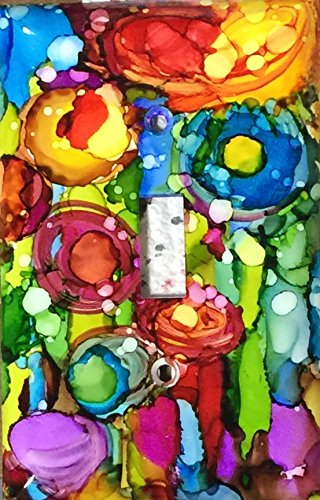 Switchplate cover, Abstract flowers 2, alcohol ink