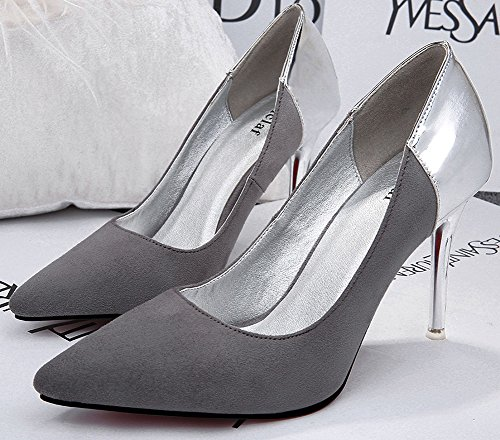 No.66 Town Women's Stiletto Heel Suede OL-Style Dress Pumps Court Shoes Grey-silver K0dE0pocb