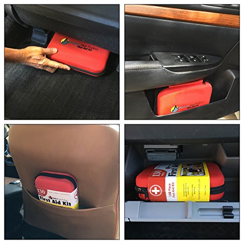 First Aid Kit for Car, SUV and Marine Use | Emergency Medical Kit for Home, Business, Travel, Hiking, Backpacking, Camping and Sports | 130 Pieces | Hard Shell Case | FDA Approved | + Bonus eBook by Higher Gear Products (Image #2)