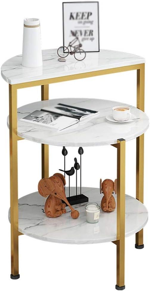 Koop Het Beste Mujin Bijzettafel, 3-laags, salontafel, metaal, retro, theetafel, woonkamer, balkon, kleine woning, sofa, nachthuis, 43 x 43 x 61 cm wit marbling bj2i8AS