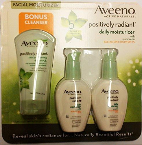 Aveeno Positively Radiant Daily Moisturizer SPF 15, 4 fl.oz. x 2 pack, Bonus Cleanser 5 oz. (Positively Radiant Moisturizer compare prices)