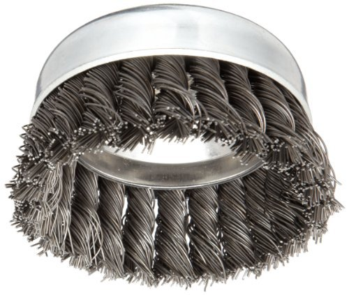 Weiler Vortex Pro Wire Cup Brush, Threaded Hole, Carbon Steel, Partial Twist Knotted, 4 Diameter, 0.025 Wire Diameter, 5/8-11 Arbor, 10200 rpm (Pack of 1) by Weiler Weiler Corporation