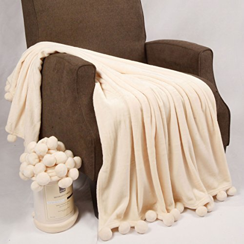"""Home Soft Things Pompom Bed Couch Throw Blankets, 50"""" x 60"""", Antique White"""