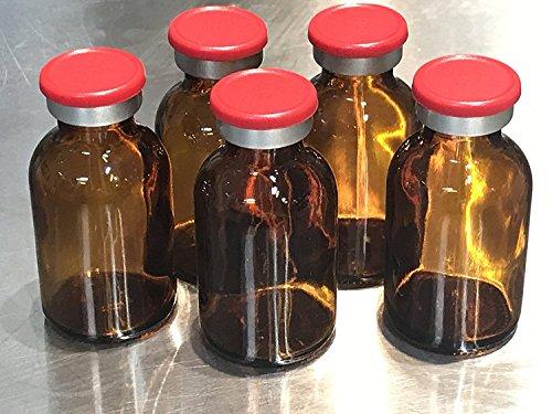 20ml Sterile Amber Vial 10 Pack Red Flip Off Caps