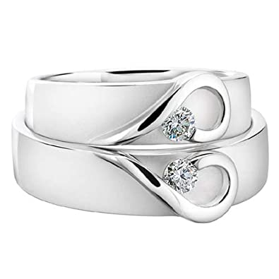 14k white gold his and her wedding rings 014 carats 6 mm - Wedding Rings For Her