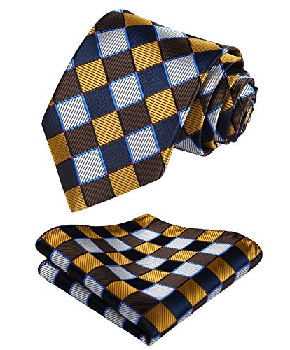 - Enmain Check Jacquard Woven Men's Wedding Silk Tie Pocket Square Necktie Set Orange / Brown / White