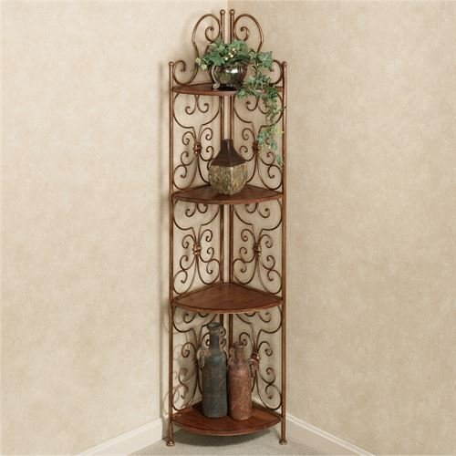 - Touch of Class Corner Display 4 Shelf Etagere Scrolled Bronze Finish Wooden Shelves