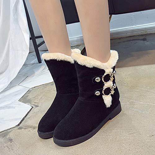 Calzado Zapatos Ante Moda Negro Luckygirls Mujer Nieve Hebilla Botitas Botas De xq4xanwZzP