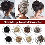 Fluffy Tousled Scrunchie Hair Bun With Elastic Rubber Band Premium Wrap On Hair Extensions Updo Chignon Donut Messy Ponytail Hairpiece Synthetic Wavy For Women(Light Ash Brown Mix Bleach Blonde)