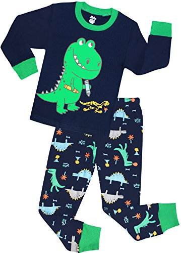 shelry Boys Dinosaur Pajamas Children Christmas Clothes 100% Cotton Size 8 Years Black ()