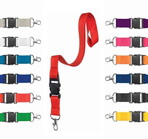 Karteo® Schlüsselband Schlüsselbänder Schlusselband Band Lanyard 20mm breit unbedruckt mit Karabiner Karabinerhaken und Sicherheitsverschluss rot zum Umhängen für Kartenhuellen Ausweise Kinder EC Kartenhüllen Handy Autoschlüssel Zugangskarten