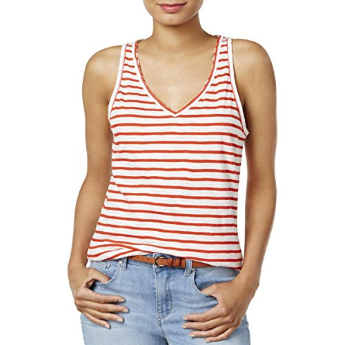 Striped Burnout Tops (Maison Jules Womens Burnout Striped Tank Top Red XL)