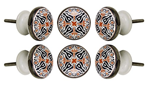 Set of 6 Ceramic Tangier Knob Kitchen Cabinet Cupboard Door Knobs Dressser Wardrobe and Drawer Pull By (Ceramic Door)