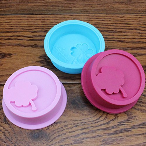 (Samzary Four Leaf Clover Reusable Silicone Baking Cups Easy Clean Pastry Muffin Fondant Molds DIY Baking Pan for Cookies, Jelly, Chocolate, Ice)