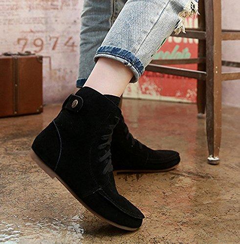Minetom Damen Kurz Schlupfstiefel Martin Schneestiefel Outdoor Boots Warme Gefütterte Schnürstiefeletten Flache Schuhe Schwarz Gitter