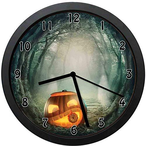 YiiHaanBuy Halloween Decorative Wall Clock,Scary Halloween Pumpkin Enchanted Forest Mystic Twilight Py-Office,Bedroom,Kitchen,Bathroom,Silent Battery Quartz Wall clock-10 inch -