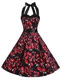 Dresstells Vintage 1950s Rockabilly Polka Dots Audrey Dress Retro Cocktail Dress Black Rose S offers
