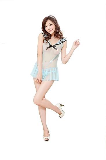 Shangrui Mujer Sophie Romántica Fina Transparente Pijamas Aguamarina Azul Mordaz Lencería W066: Amazon.es: Ropa y accesorios