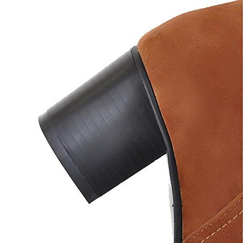 Amoonyfashion Womens Tacco Chiuso Tacco Gattino Imitato Sandalo Solido Stivali Scamosciati Con Piattaforma Marrone