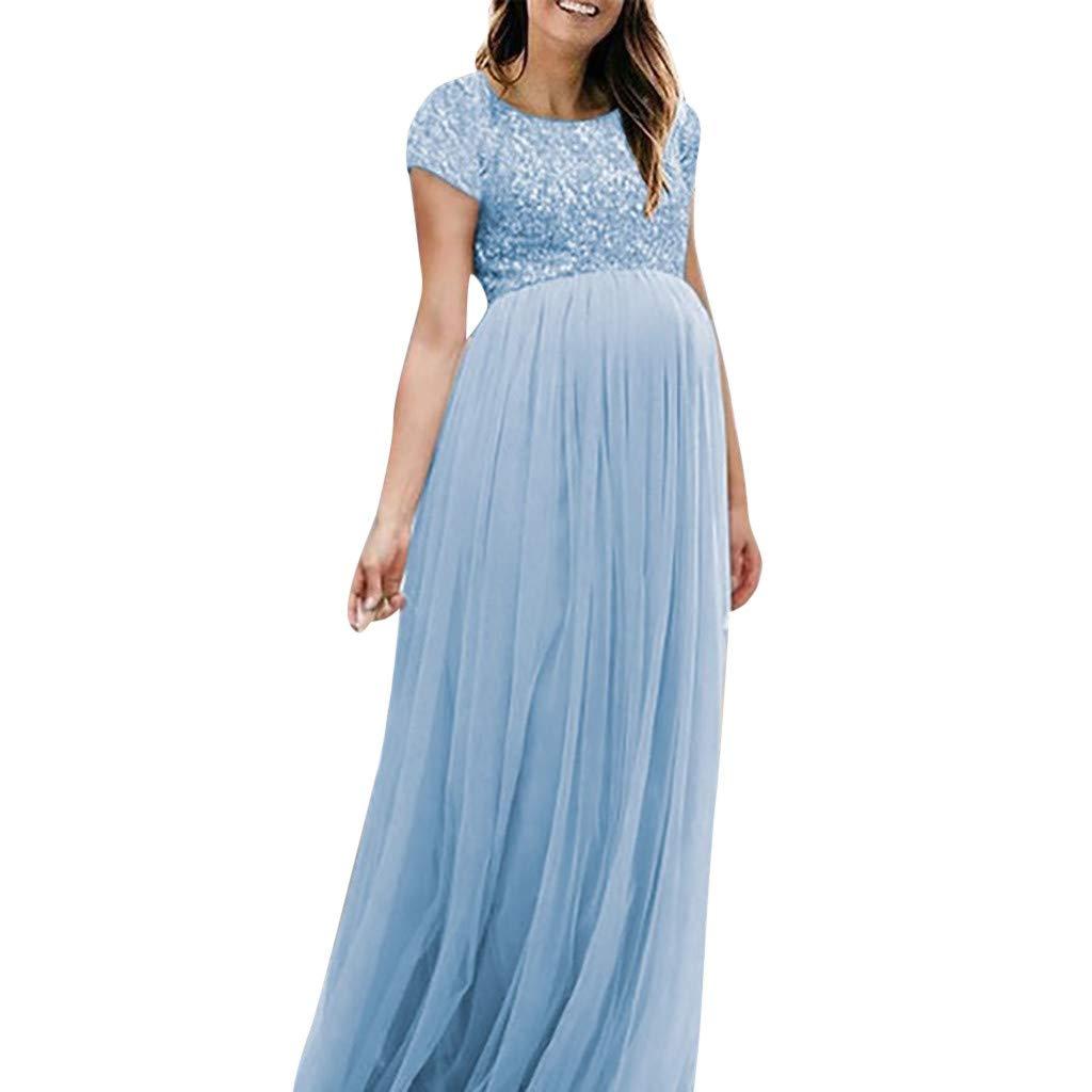 SIN vimklo Elegant Maternity Gown Short Sleeve Off Shoulder Slim Fit Photography Dress