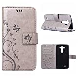 MOONCASE LG G3 Wallet Case Flower Pattern Premium PU Leather Case for LG G3 Bookstyle Soft TPU [Shock Absorbent] Flip Bracket Cover Grey