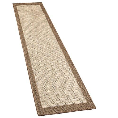 "Collections Outdoor/Indoor Extra Long Natural Jute Floor & Hallway Runner Accent Rug with Border, Brown, 22"" X 96"""