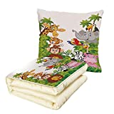 iPrint Quilt Dual-Use Pillow Nursery Cartoon Style Zoo Animals Safari Jungle Mascots Collection Tropical Forest Wildlife Multifunctional Air-Conditioning Quilt Multicolor