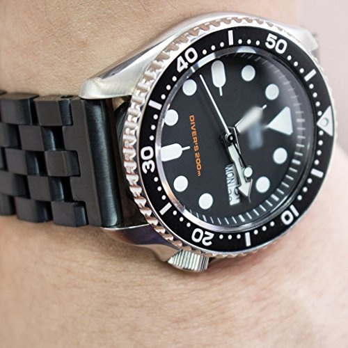 22mm Super Engineer II Solid SS Straight End Watch Band, Button Chamfer, PVD Black by 22mm Metal Band by MiLTAT (Image #1)