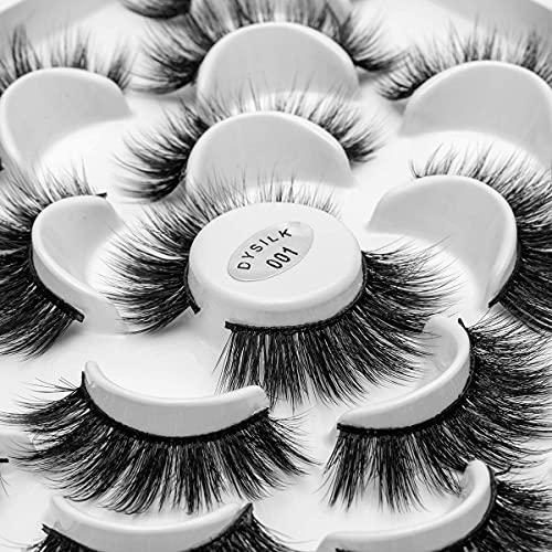 DYSILK 10 Pairs 6D Mink Eyelashes Faux Fluffy Wispy Long Dramatic False Eyelashes Thick Volume Fake Eyelashes Natural Soft Extension Eyelashes Makeup Handmade Pack Lashes No Glue  01-18mm
