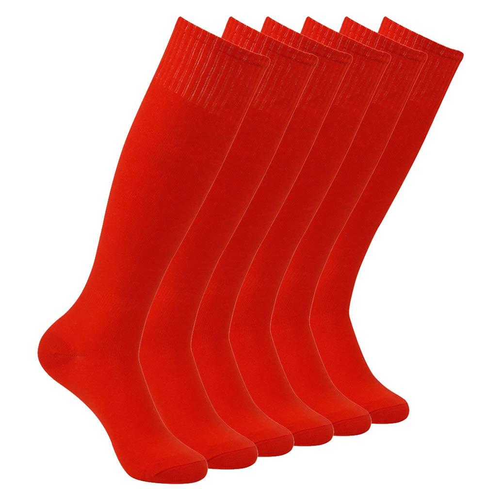 Feelingway Tube Socks Over-The-Calf Red Soccer Football Softball Baseball Socks Adults Mens Womens Sports Uniforms 6 Pairs Red by Atrest