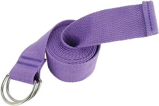 Mackur 183 cm de algodón con Cierre Estable, Correa Larga para Yoga, Accesorio para Estiramiento, algodón, Lila-1, 3.8cm*183cm: Amazon.es: Hogar