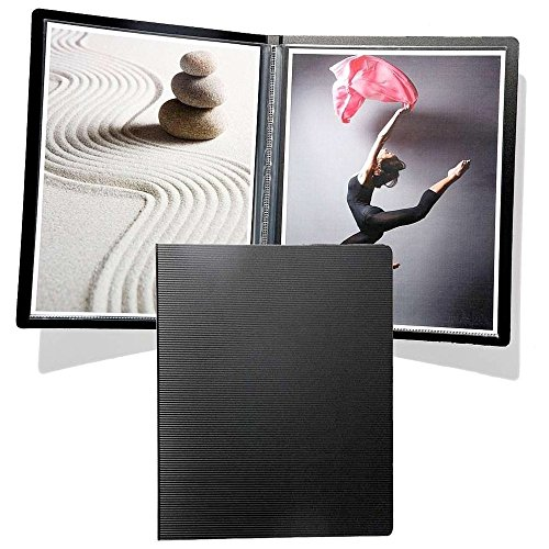 Prat Start Premium Slim Pressbook, Ribbed Cover with Round Corners, 12 Sheet Protectors with Black Paper Inserts, 14 X 11 inches, Black (SPPR-14)