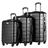 Coolife Luggage 3 Piece Set Spinner Trolley Suitcase Hard Shell Lightweight Carried On Trunk 20inch 24inch 28inch(black)