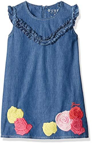 GUESS Little Girls' Cap Sleeve Sequin Rose Denim Dress, Medium Blue Roses Sequins, 6 ()