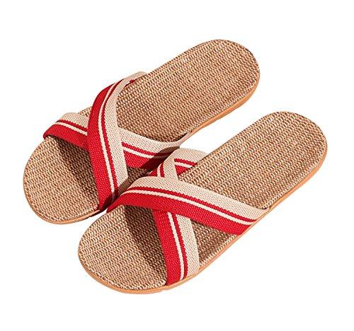 Urban CoCo Unisex Cross Braid Cozy Linen Indoor House Slippers #2 Red Gx1KK