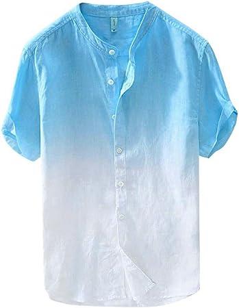 ღLILICATღ Camisas Transpirable Fresca y Delgada de Lino, Ropa con Cuello de Botón, Top Degradado Teñido,Camisetas Hombre Manga Corta (M-XXXL): Amazon.es: Deportes y aire libre