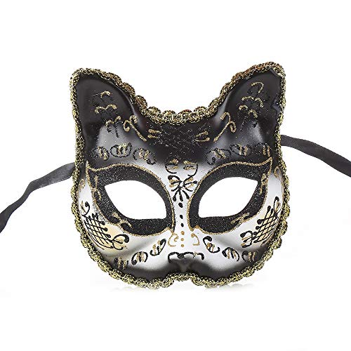 BLEVET Venetian Masquerade Masks for Child Cat Face